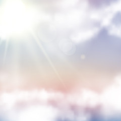 Vector realistic sunset sky. Abstract background with pink, purple and blue colors clouds.