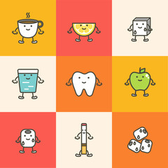set of dental care, element for tooth concept ( coffee, ice, cigarette, apple ) - teeth cartoon vector flat style