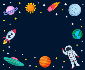 Cute colorful background template with space astronaut mars stars planets ufo rocket spaceship earth sun and comet on dark background. Vector illustration, frame for kids