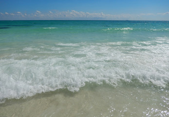 Caribbean sea waters at the Atlantic in Cancun, Mexico