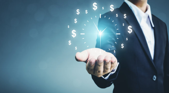 Businessman holding sign clock. Concept business time is money