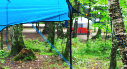Camping site in the rain. Tourist tents installed in the forest. Survival camping equipment in the harsh climatic conditions. Forest background with rain soaked tents.