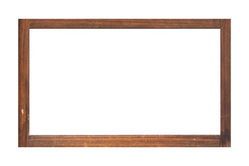 Brown wood photo frame isolated on white background