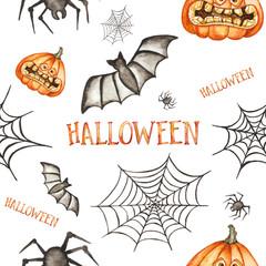 Seamless pattern. Halloween hand drawn watercolor illustration isolated on white background. Pumpkin, spider, bat, spider's web
