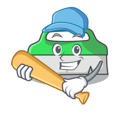 Playing baseball scrub brush character cartoon