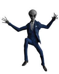 mr grey alien the businessman in a white background
