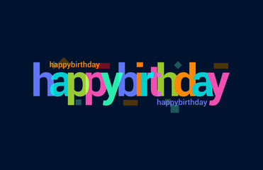 Happy Birthday Colorful Overlapping Vector Letter Design Dark Background