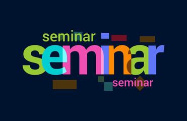 Seminar Colorful Overlapping Vector Letter Design Dark Background