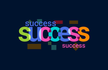 Success Colorful Overlapping Vector Letter Design Dark Background