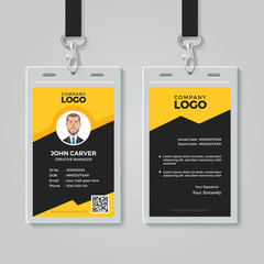 Stylish Yellow ID Card Design Template