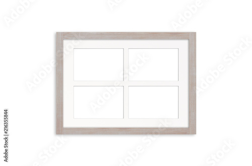 White wooden photo frame mock up, four pictures collage. \