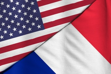 Flag of the United States of America. Flag of France.