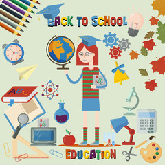 flat illustration_2_of subjects and girls on school subject, education, back to school, Association for schools, background isolated