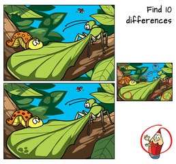 Tropical insects in the jungle. Caterpillar and mantis. Find 10 differences. Educational game for children. Cartoon vector illustration