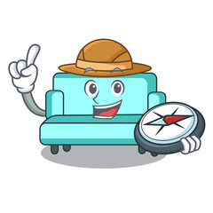 Explorer sofa mascot cartoon style