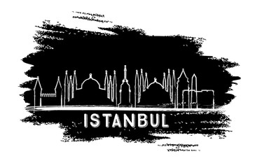 Istanbul Turkey City Skyline Silhouette. Hand Drawn Sketch.