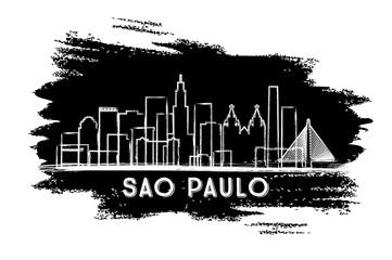 Sao Paulo Brazil City Skyline Silhouette. Hand Drawn Sketch.