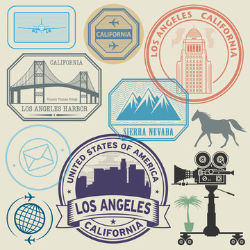 Stamp or label set with text Los Angeles