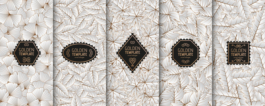 Set of golden luxury templates. Gold autumn leaves background. Vector illustration.