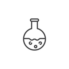Chemical Flask with liquid outline icon. linear style sign for mobile concept and web design. Chemistry Science simple line vector icon. Symbol, logo illustration. Pixel perfect vector graphics