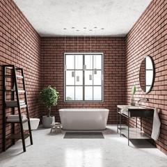 Brick bathroom interior, shelves