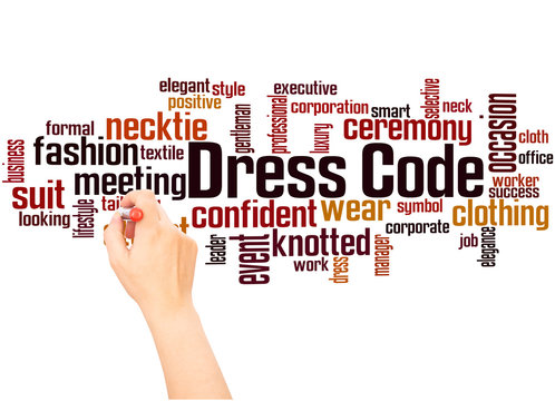 Dress code word cloud and hand writing concept