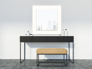 Makeup table and mirror, living room
