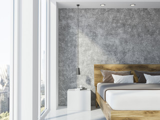 Concrete wall panoramic bedroom interior closeup