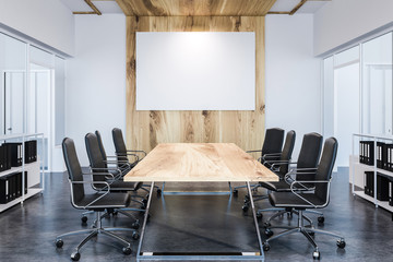 Panoramic meeting room, wooden table, poster