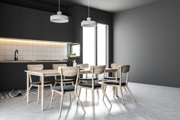 Gray chairs in a gray kitchen interior