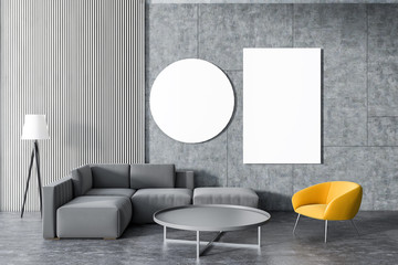 Gray sofa, yellow armchair living room, gallery