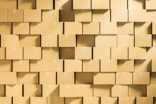 Wall of closed cardboard boxes stacked mock up
