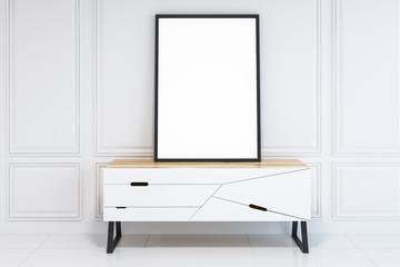Black frame poster on white closet