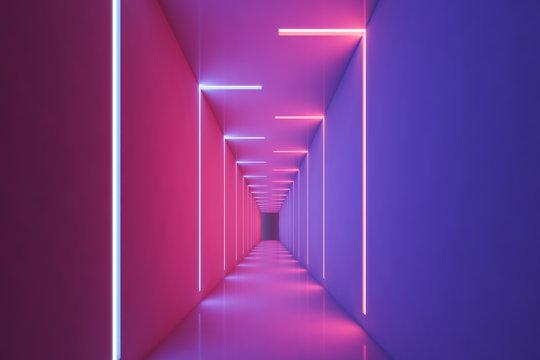 Neon light pink and purple empty corridor
