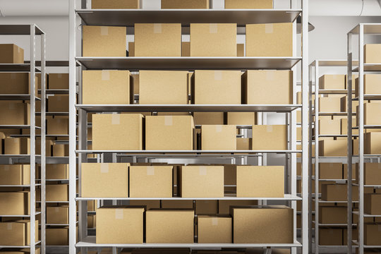 Warehouse shelves with cartboard boxes