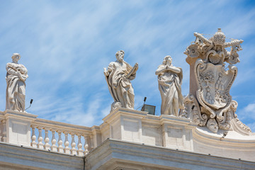 Statues on the colonnades at St Peter's square, Rome