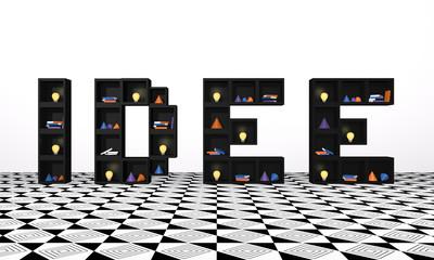 Regal aus Würfeln als Wort Idee. mit bunten Glühbirnen, Büchern und Dekoration. 3d render