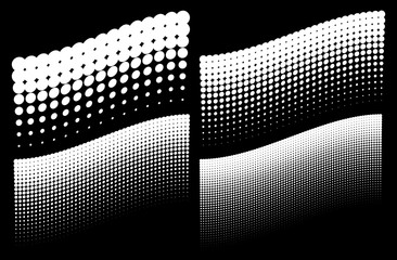 Halftone dots wave backgrounds. Collection templates using halftone dots patterns. Vector illustration