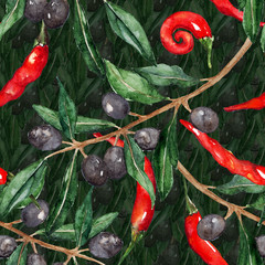 Olive oliva branch red hot chili chilli spicy pepper seamless pattern texture background