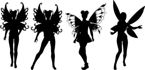 羽根のついた妖精のシルエット