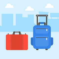 luggage bag icon, flat design