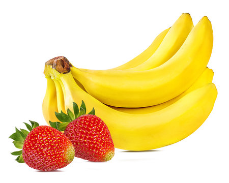 Bananas and strawberries isolated on white.