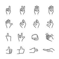 Vector image set of hands in different gesture line icons.