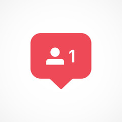 Vector image of follower notification icon.