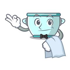 Waiter steel pot mascot cartoon