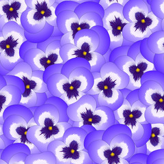 Violet Pansy Flower on Seamless Background