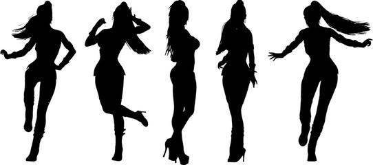 ディスコクラブの女性のシルエット