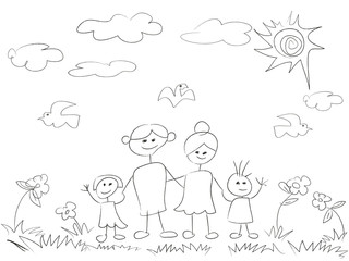 doodle happy family background