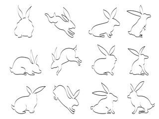 isolated doodle black rabbit outline icons on white background