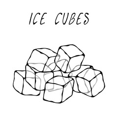 Ice Cubes. Summer Bar Collection. Realistic Hand Drawn High Quality Vector Illustration. Doodle Style.